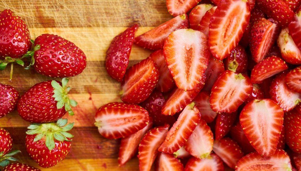Strawberries Red Sliced Fruits Sliced Strawberries